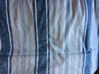 Blue, White Grey and Stone Striped Floor Length Curtains (Lined)
