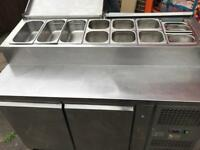 Pizza topping salad bar fridge commercial catering kitchen equipment restaurant catering business