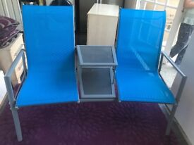 Double Seat with Two Tiered Glass Table