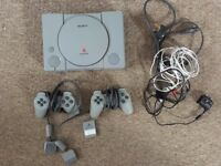 PlayStation 1 PS1 Console, 2 Controllers, Memory Card & Cables
