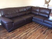 L shape leather couch, curtains, cushions, lamps & TV Unit