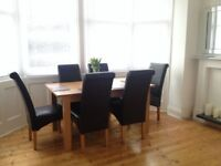 Dinning Set Table with Six Leather Chairs