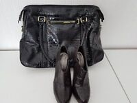 BLACK PATENT SHOE BOOTS & BAG TO MATCH – SIZE 5