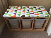 IKEA Trofast storage unit with boxes and bench/seat pad