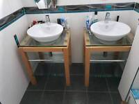 Contemporary bathroom sink and freestanding unit in wood and glass