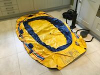 Seahawk 440 Rubber dingy, yellow and blue, 3 paddles, two pumps. Used twice.