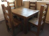 Rustic reclaimed oak table and 4 chairs in great condition