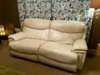 Cream leather electric reclining sofa