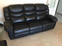 La-Z-Boy Black Leather Electric Reclining 3 Seater Sofa & Footstool