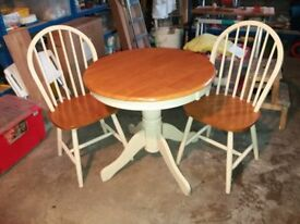 Small Round Dining table and Two Chairs