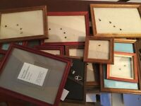 Selection of small wooden photo frames