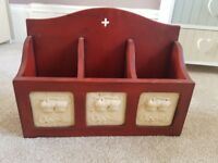 3 x unusual small red cabinets with apples - vintage style