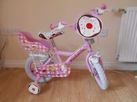 """Girls Pink Apollo Cupcake 12"""" Bike with Stabilizers 3-5 Years Doll Seat & Front Bag"""