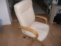 Eliza-Tinsley-Executive-Armchair-Leather - cream-computer chair