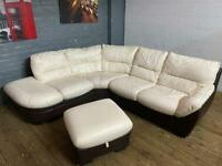 DFS LEATHER CORNER SOFA WITH FOOTSTOOL MATCHING