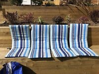 Set 4 garden furniture cushions for recliner chairs