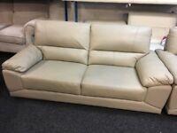 New/Ex Display Vixion Grey Leather 3 Seater Sofa