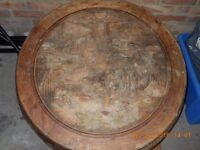 Unusual Old Antique Chinese Hand Carved Circular Wooden Low Coffee Table