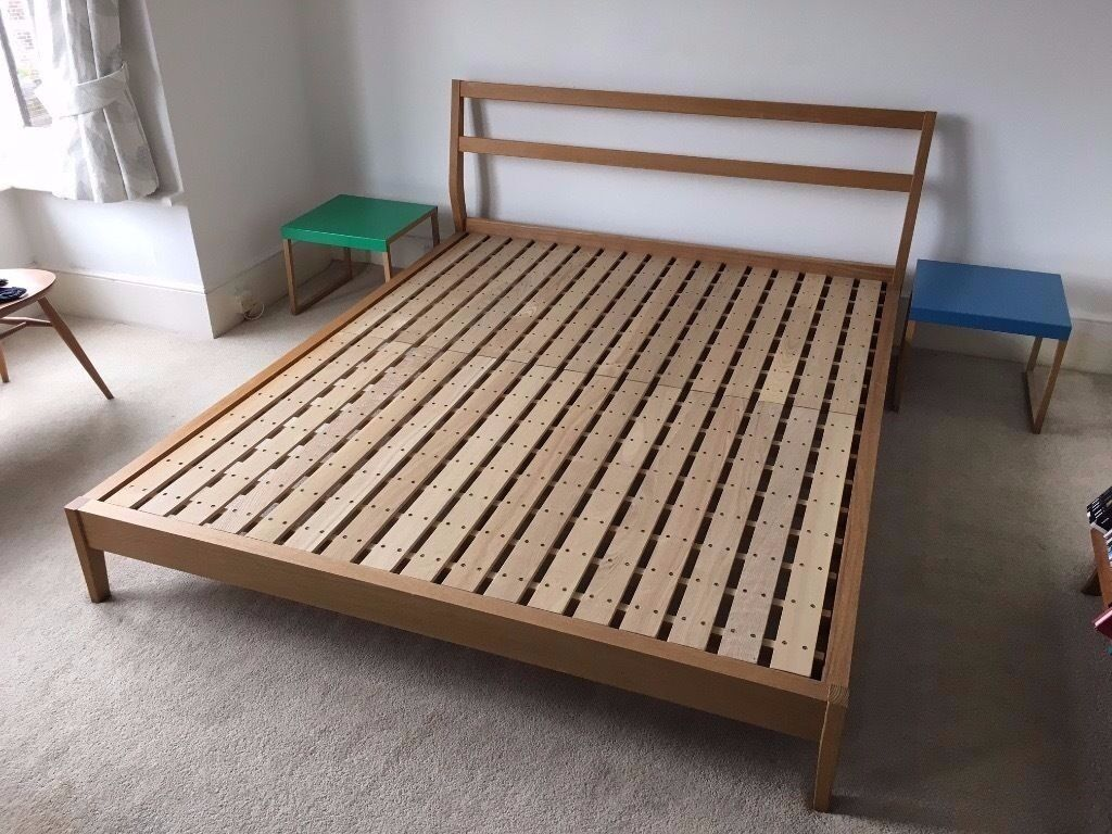 muji king size double bed for sale in light brown wood