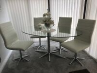 Glass Oval Table and 4 White Leather Chairs