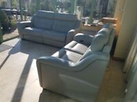Furniture Village Halcyon II 2 and 3 Seater Double Power Recliner Sofas in Feather Grey Leather