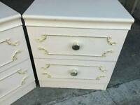 Pair of French shabby chic style Bed sides