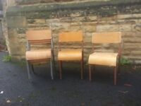 9 Childen's wooden stacking chairs