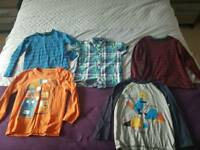 5 items Boys long sleeve tops and a shirt age 5-6