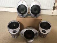 5 x KEF HTS2001 AV Surround Satellite Speakers