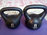 Rarely used Kettlebells 1x8 kg and 1x6 kg - G Fitness - £30