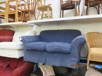 Sofa, 2/3 seater, blue, removable covers (Fm Cambridge Re-Use)