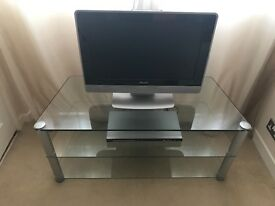 PHILLIPS TV & DVD PLAYER WITH GLASS DISPLAY UNIT