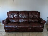 Leather Three Seater Sofa with recliners