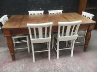 Fabulous mid 1800s oak table with 6 painted church chairs