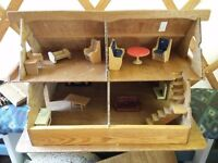 Wooden dolls house hand made woth furniture