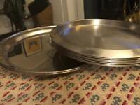 9 nearly new large tea chrome serving trays