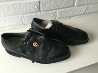 BLACK LEATHER GOLF SHOES