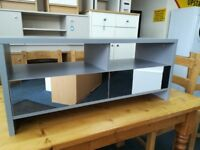 NEW Grey 2 Drawer Mirrored Effect TV Unit