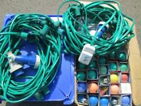 Festoon Party Lights, Outdoor waterproof 50 metres with lamps and spares, RCD. Christmas Lighting.
