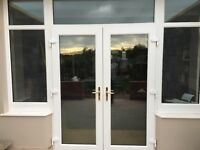 UPVC white French doors with side windows