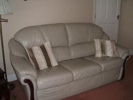 3 piece suite, leather colour Ivory
