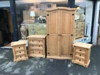 Set of Mexican Pine Bedroom Furniture