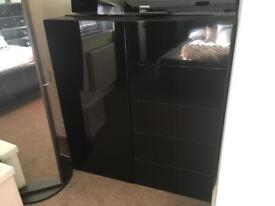 Black draws, cupboard, shelf's, mirror furniture