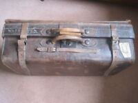 VINTAGE ca. 100 YEARS OLD SOLID LEATHER SUITCASE WITH OUTER STRAPS - VERY COLLECTIBLE £30 ONO