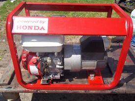 2.3kw genuine honda 4 stroke petrol generator with low oil automatic shutdownvery low hours