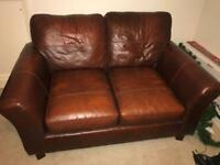 M&S small brown leather sofa