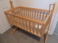 Clair de Lune natural wood Rocking Cradle with accessories