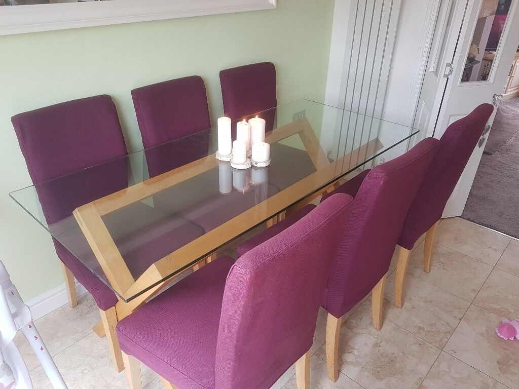 Habitat Oak And Glass Table With 6 Chairs Changeable Chair Covers
