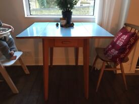 Retro blue Formica kitchen dining table drop leaf 50s 60s