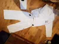Taekwondo suit size 140 and white belts